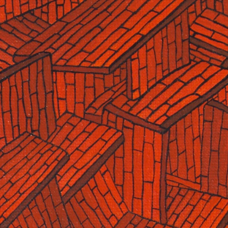 Accumulation of Red Tiled Roofs or Brick Walls Oil Painting For Sale 5