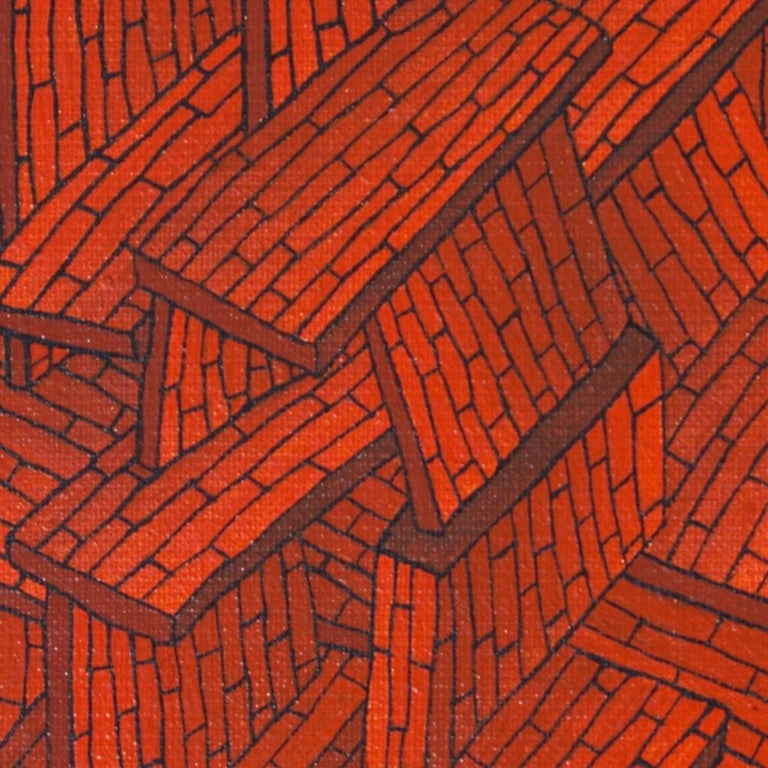 Accumulation of Red Tiled Roofs or Brick Walls Oil Painting For Sale 6