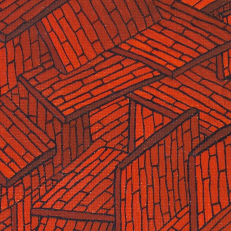 Accumulation of Red Tiled Roofs or Brick Walls Oil Painting For Sale 7