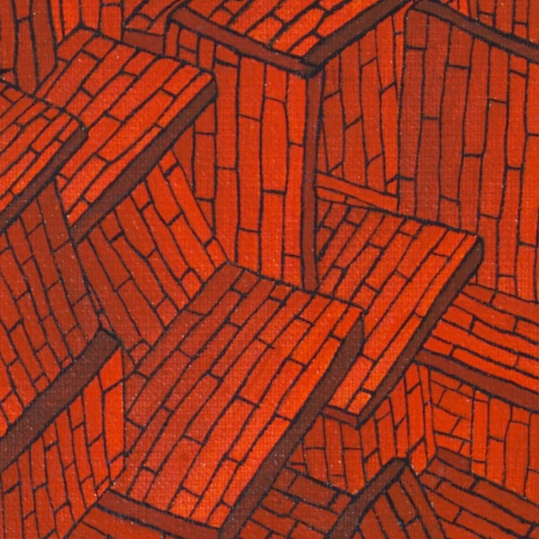 Accumulation of Red Tiled Roofs or Brick Walls Oil Painting For Sale 8