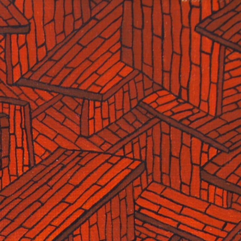 Accumulation of Red Tiled Roofs or Brick Walls Oil Painting For Sale 10