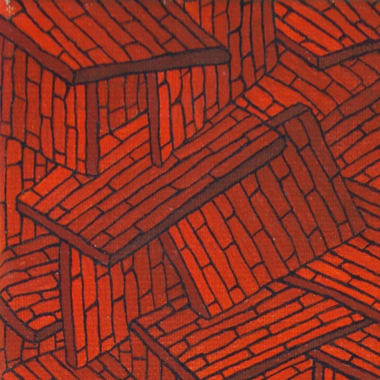 Accumulation of Red Tiled Roofs or Brick Walls Oil Painting For Sale 11