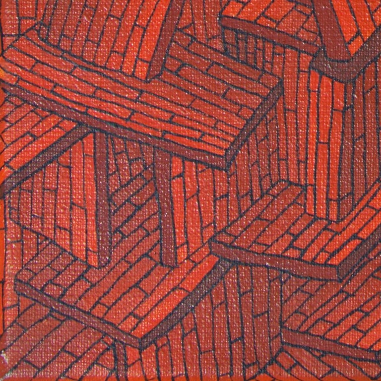 Accumulation of Red Tiled Roofs or Brick Walls Oil Painting For Sale 12