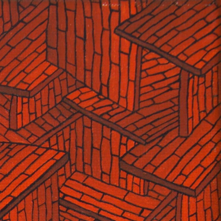 Accumulation of Red Tiled Roofs or Brick Walls Oil Painting For Sale 13