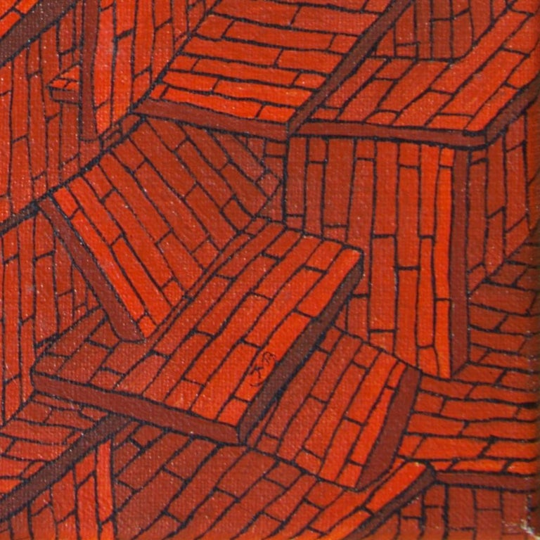 Accumulation of Red Tiled Roofs or Brick Walls Oil Painting For Sale 14
