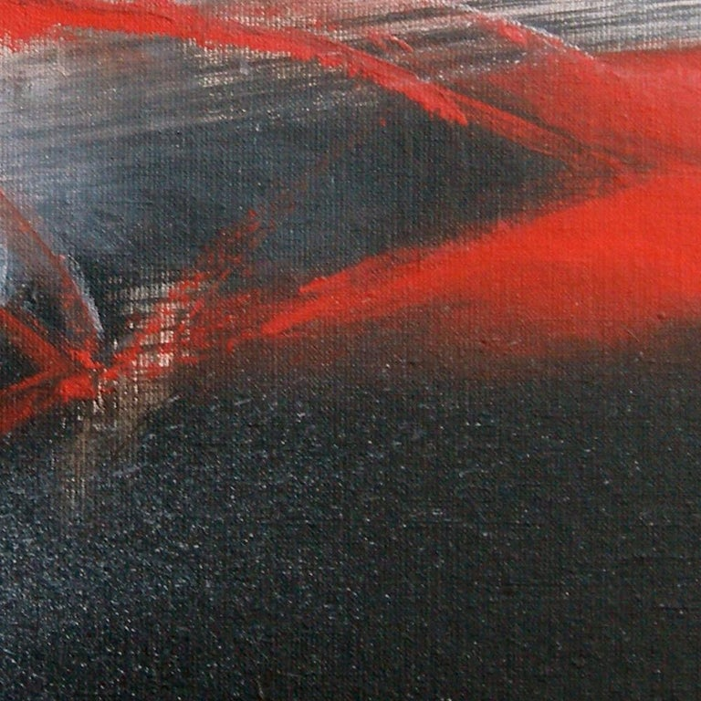 Red Black and White Abstract Painting For Sale 1