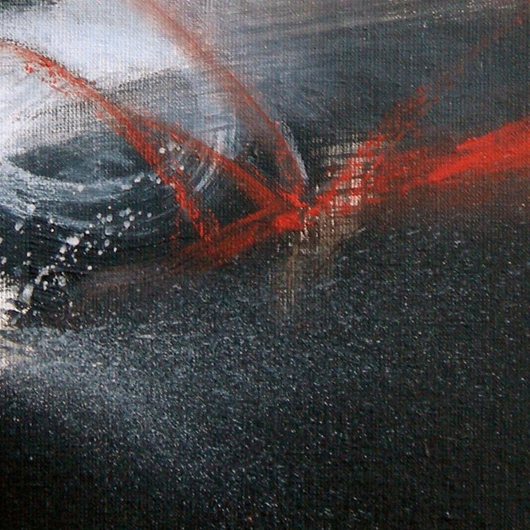 Red Black and White Abstract Painting For Sale 2
