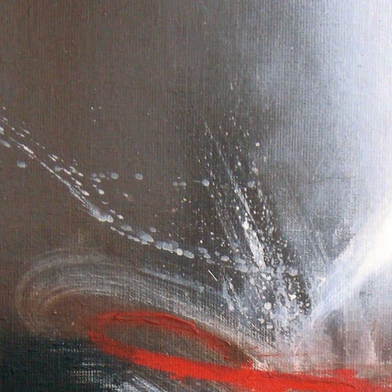 Red Black and White Abstract Painting For Sale 4