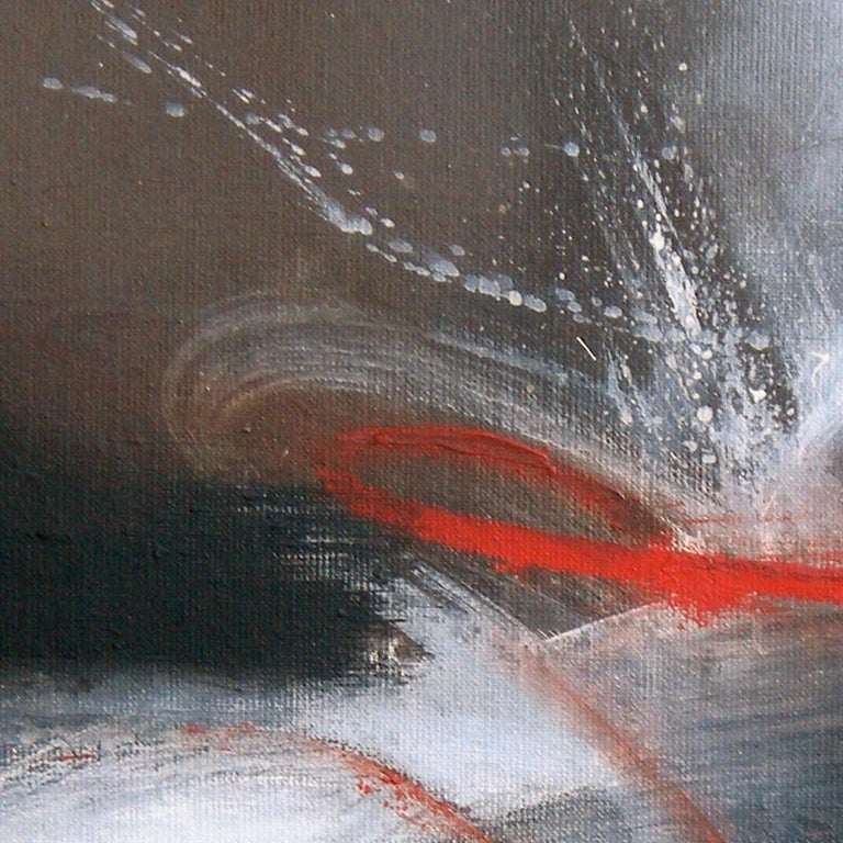Red Black and White Abstract Painting For Sale 5