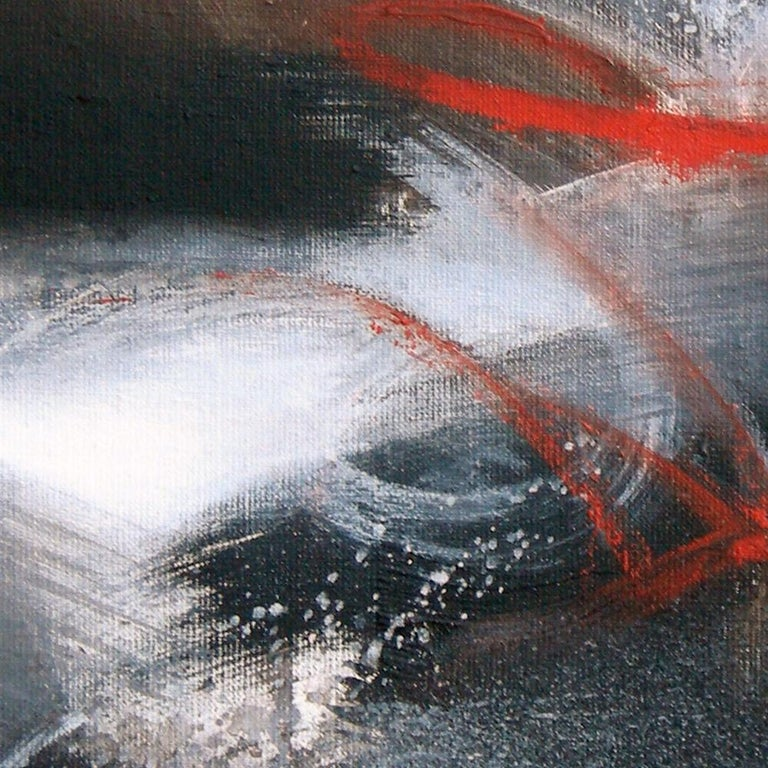 Red Black and White Abstract Painting For Sale 6