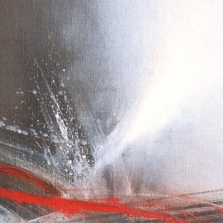 Red Black and White Abstract Painting For Sale 9