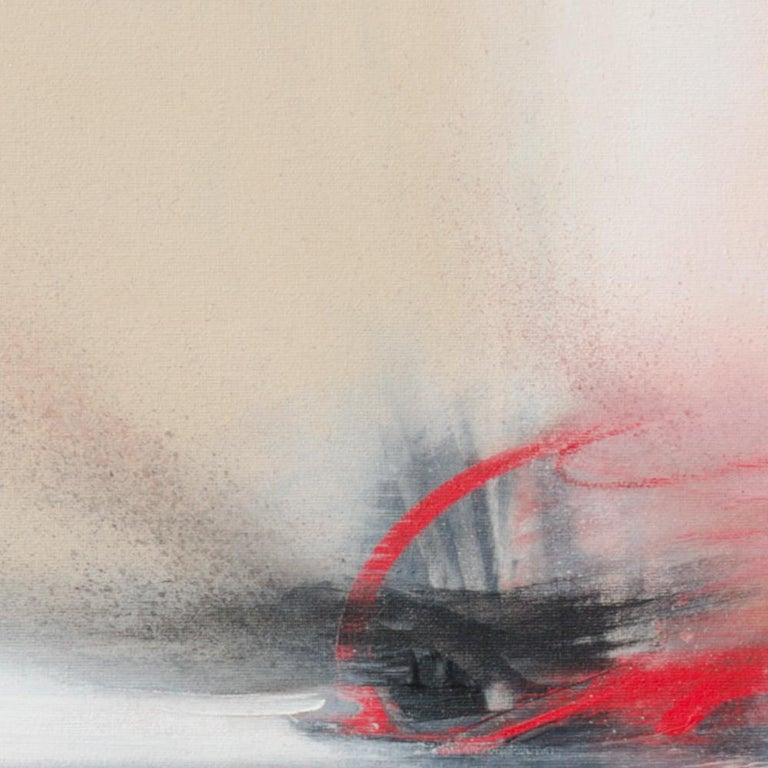 Red Beige Black and White Abstract Painting For Sale 2