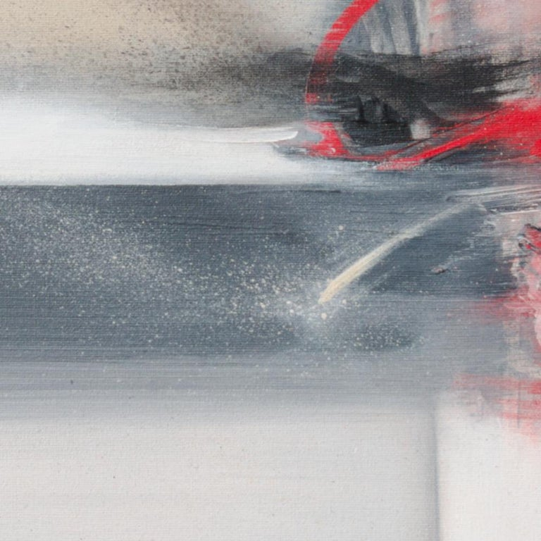Red Beige Black and White Abstract Painting For Sale 3