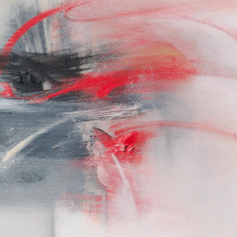 Red Beige Black and White Abstract Painting For Sale 4