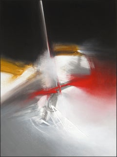 Red Golden Black and White Abstract Painting 30052010N1