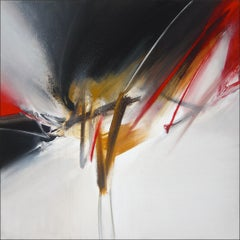 Red Golden Black and White Abstract Painting
