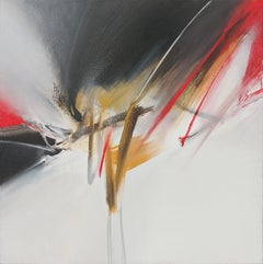 Red Golden Black and White Abstract Acrylic Painting