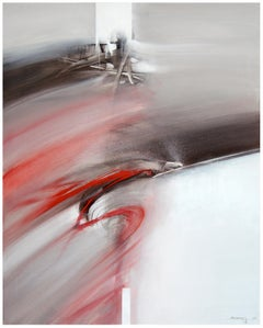 Red Black and White Graphic Abstract Painting