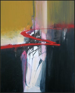 """Red sign"" Golden Red Black and White Abstract Acrylic Painting"