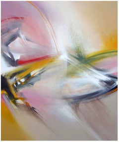 """""""Cross-section"""" Red Yellow Green Golden Black and White Abstract Painting"""