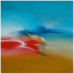 """Imaginary Landscape"" Red Golden and Blue Abstract Painting"