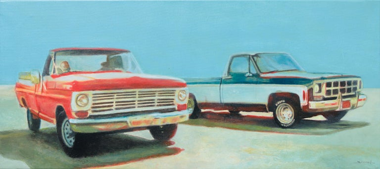 """Philippe Saucourt Figurative Painting - """"Duo"""", Couple of Red and Two Tone Blue & White 5th Generation Ford F100 Pickups"""