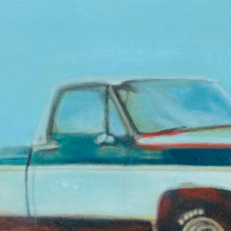 This figurative artwork by Philippe Saucourt was created with a mixed technique of acrylic painting with other media on cotton canvas.  It depicts two trucks of the mythical Ford F-Series (or is the blue and white two tone a Chevy?) parked on a