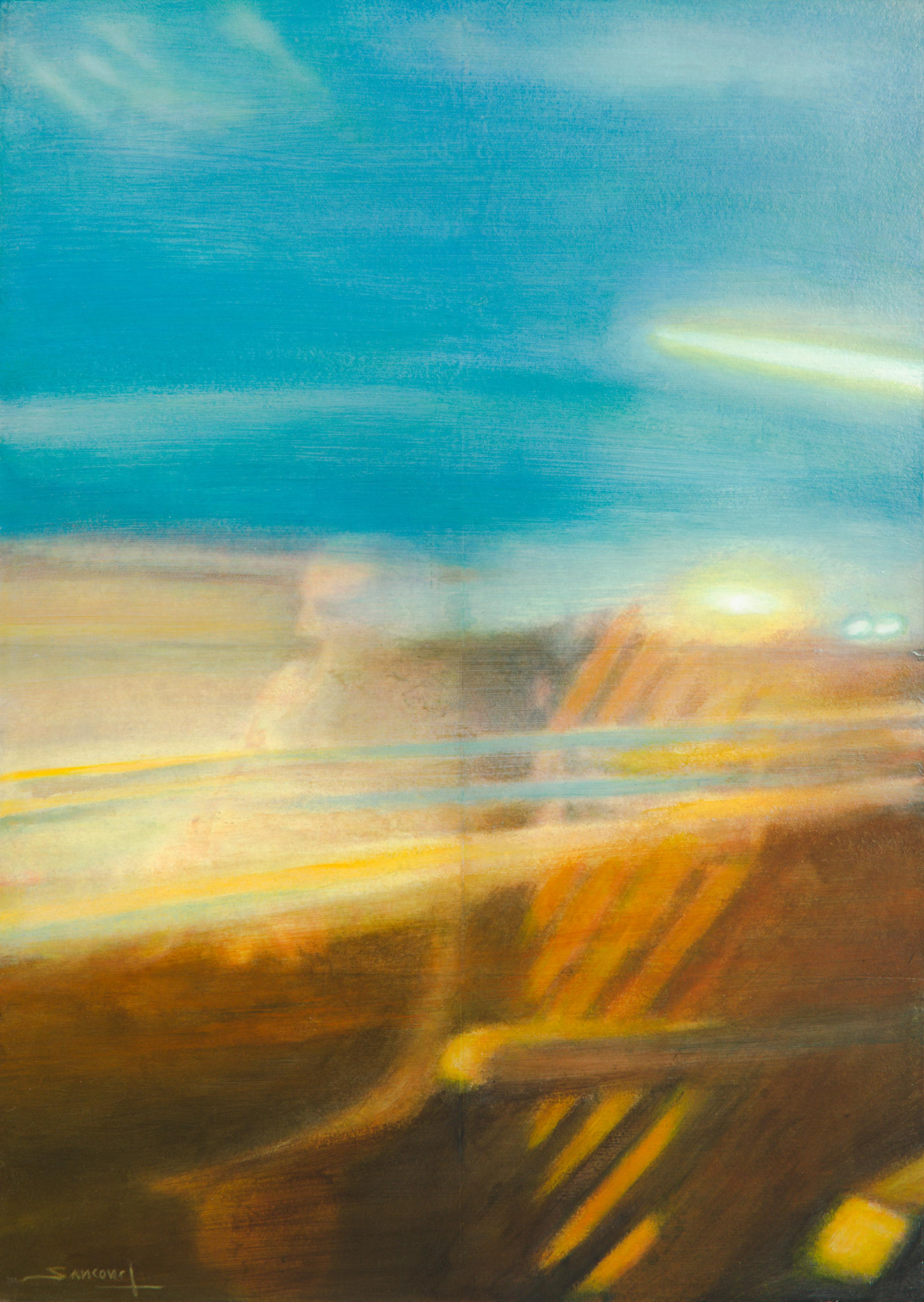 """""""Night Train #14"""", Reflection of a Passenger in the Train Window"""