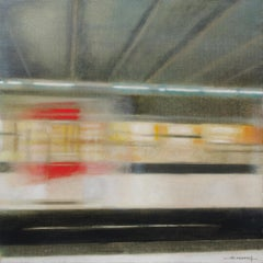 Running RER Train in Paris Station, Hyperrealist Impressionist Artwork