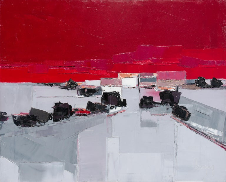 """Marcel Demagny Abstract Painting - """"Towards the village"""" (""""Vers le village"""") Dark Red & Grey Landscape Oil Painting"""
