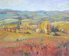 """Feelings of Temperatures"", Rainbowish Impressionist Landscape Oil Painting"