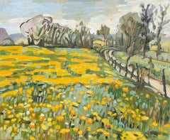 """Clear Days"", Dandelion Fields Yellow Impressionist Landscape Oil Painting"