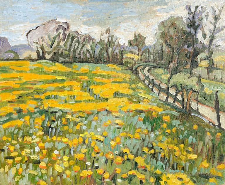 "Yves Calméjane Figurative Painting - ""Clear Days"", Dandelion Fields Yellow Impressionist Landscape Oil Painting"