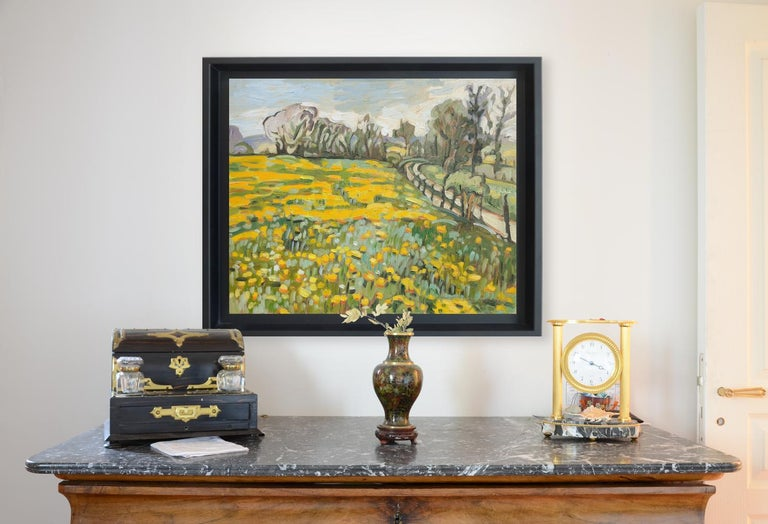 This artwork depicts fields of dandelions, on two levels, surrounded by a fence and bordered by an untarred road, with a tree hedge on the background and white clouds.  Yves Calméjane usually uses light impasto techniques, with the weft of the