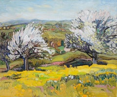 """Snow Flower"", Couple of White Trees in a Yellow Prairie Landscape Oil Painting"