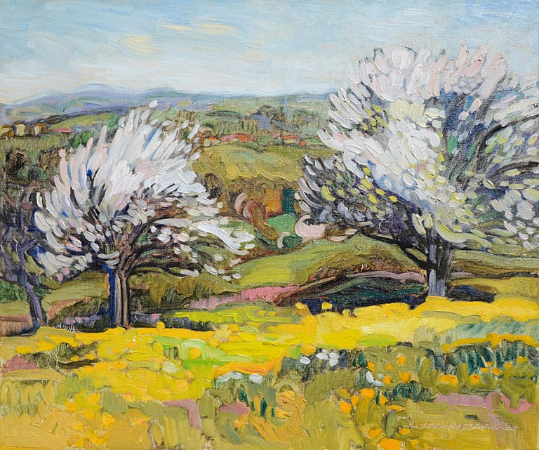 This artwork depicts a typical Auvergne spring landscape, figuring a couple of trees with white flowers (cherries ?) in a field of dandelions or buttercups, with a village far in the background and light clouds.  Yves Calméjane usually uses light
