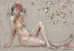 """Mischievous"", Nude Woman Laying on Her Arms with Crossed Legs and Flowers"