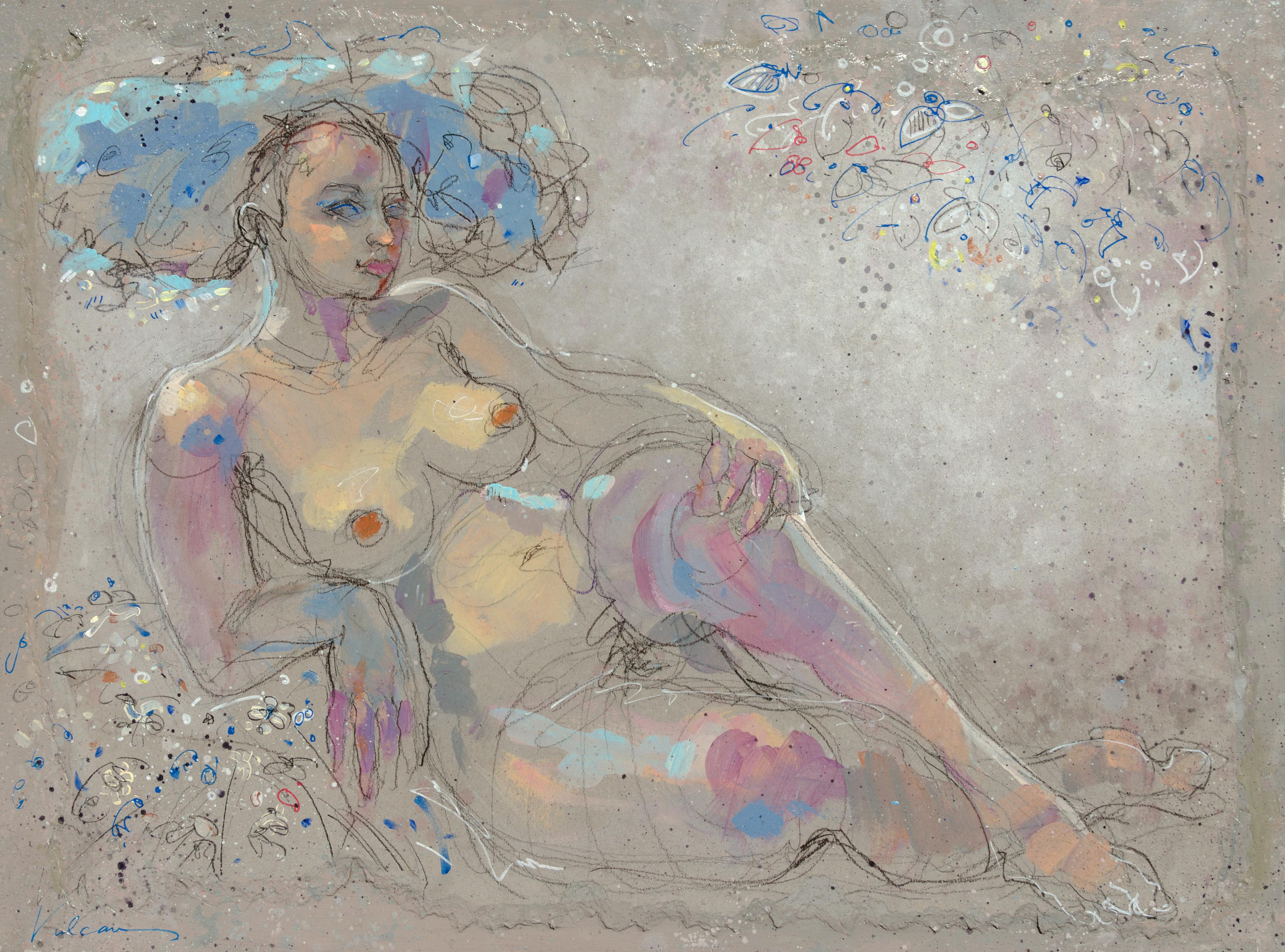"""""""Cécile"""", Nude Chubby Woman Laying on her Elbow w/ Flowers Mixed Media Painting"""