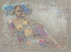 """Cécile"", Nude Chubby Woman Laying on her Elbow w/ Flowers Mixed Media Painting"