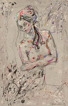 """Angry Félicia"", Bare Chested Topless Woman Crossing Arms Mixed Media Painting"