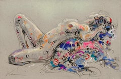 """Flowery Offering"", Nude Woman Lasciviously Laying Colored Mixed Media Painting"