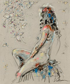 """Inès"", Back View of Seated Nude Woman with Flowered Branch Mixed Media Painting"