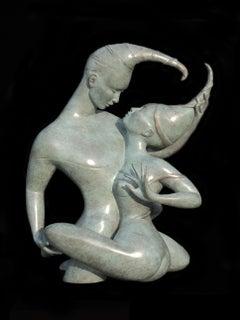 """Tsade Sacred Fusion"", Embracing Nude Couple with Pointy Turban Bronze Sculpture"