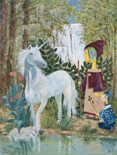 """The Unicorn"",  Figurative Landscape with Children in a Poetic Manner"