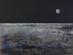 """Everything's allright"" (""Ça va bien"") Lunar Abstract Landscape Acrylic Painting"