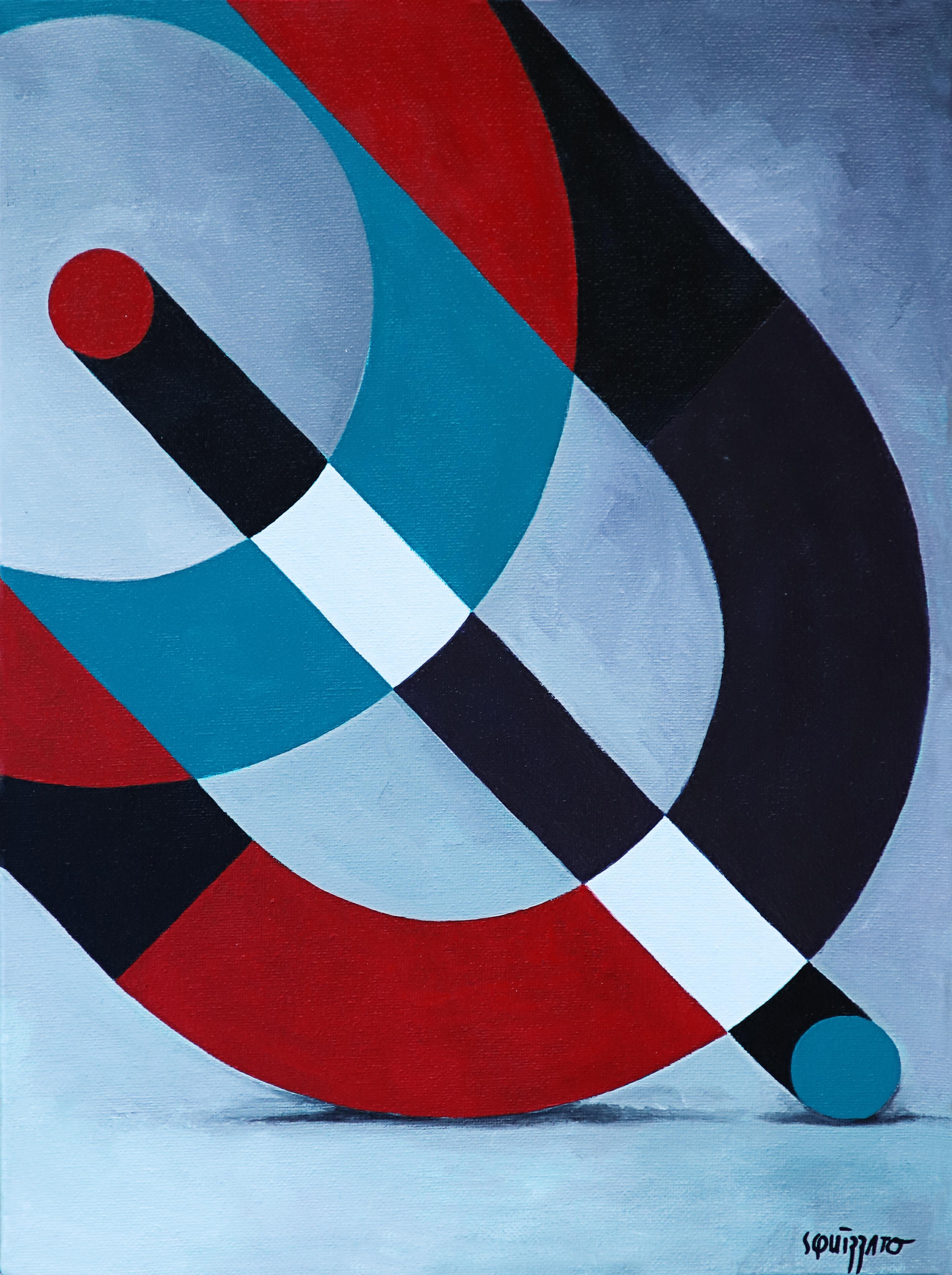 """""""Reflexions 2"""", Red, Black, White and Blue Geometrical Abstract Acrylic Painting"""