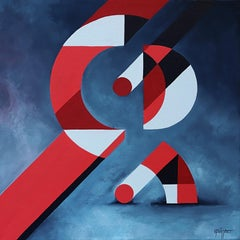 """Reflexions 3"", Red, White and Blue-Gray Geometrical Abstract Acrylic Painting"