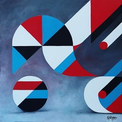 """Reflexions 4"", Red, Black, White and Blue Geometrical Abstract Acrylic Painting"