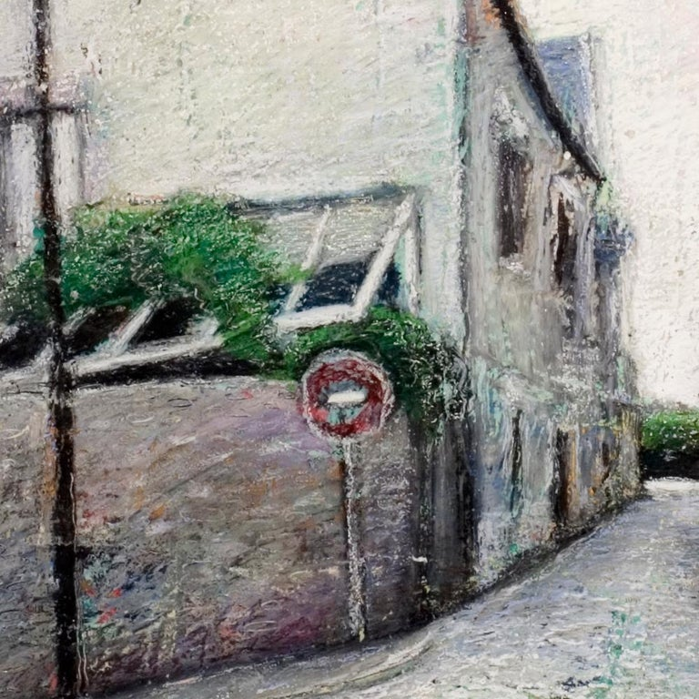 Corner House with Wall and Veranda, Lamp Post, Wrong-Way Sign and Uphill Street - Impressionist Painting by Marc Chaubaron