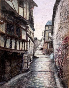 Uphill Cobbled Stoned Street with Half-Timbered House Oil Pastel